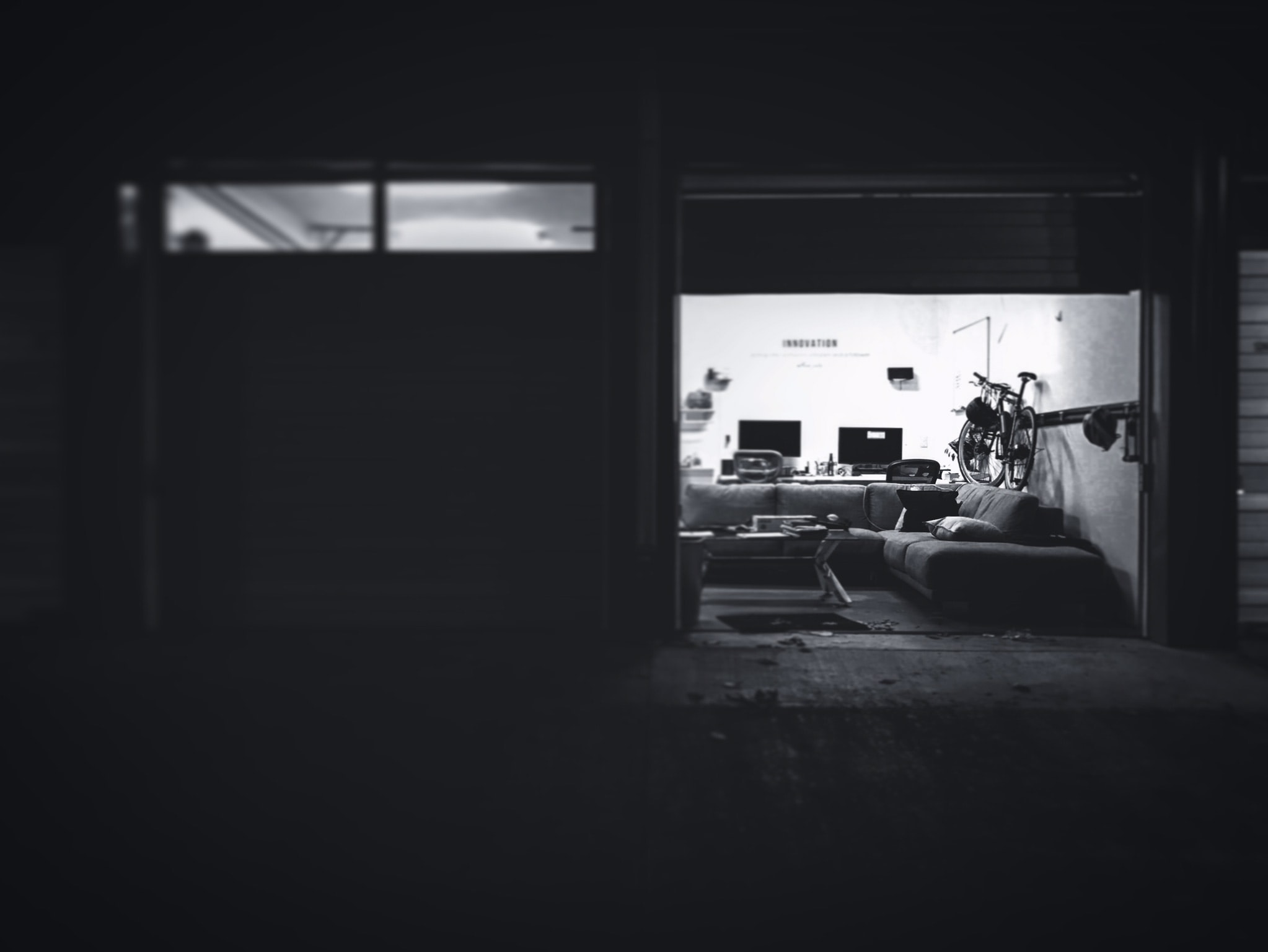 black and white photo of couch