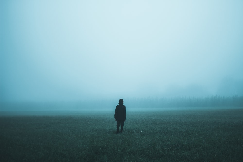 person standing on misty ground