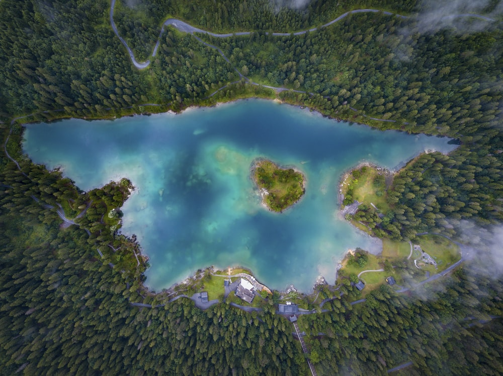 aerial photo of a lake