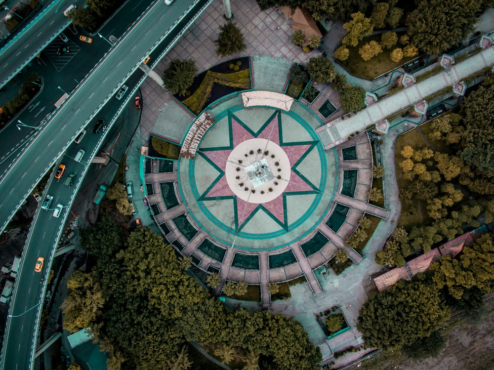 aerial view photography of star ground building