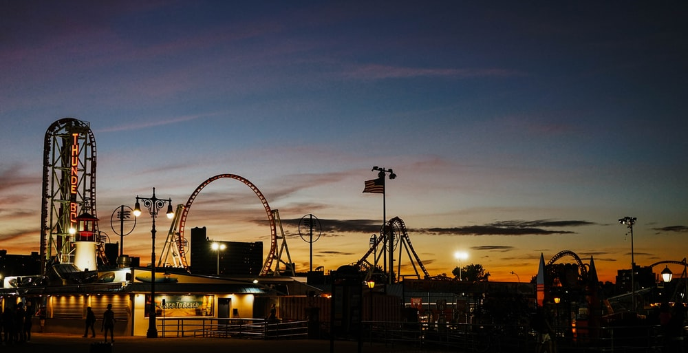 silhouette of carnival during golden hour