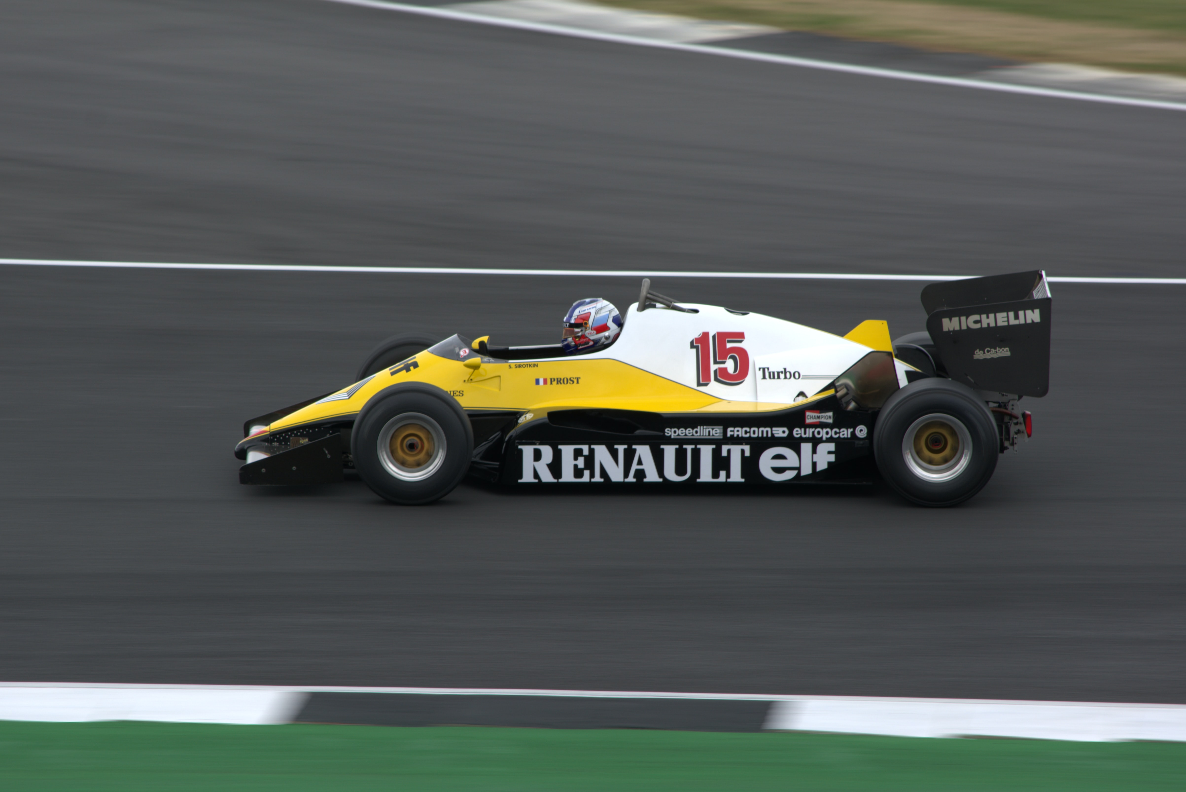 Renault Elf F-1 race car on track