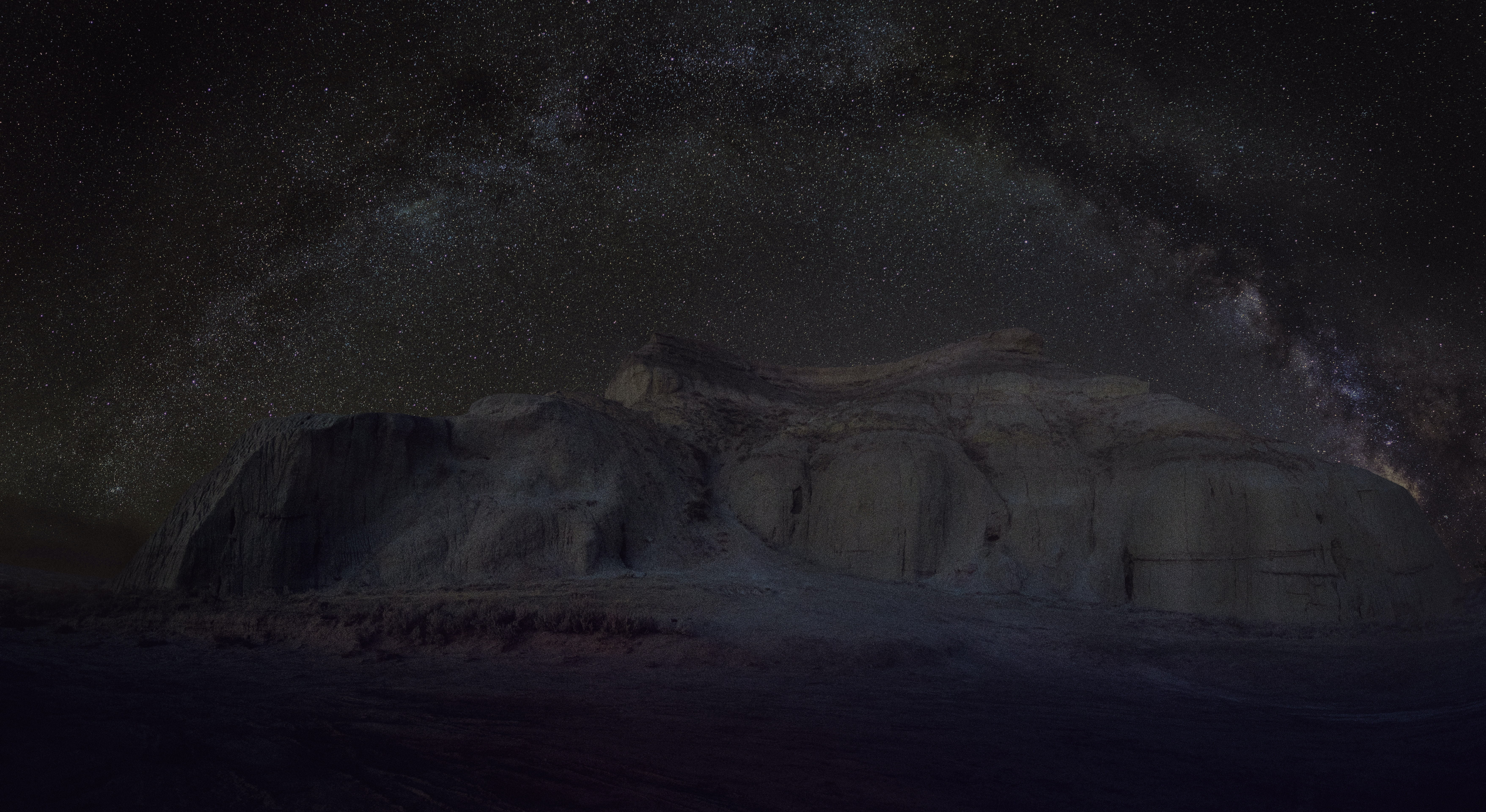rock formation during nighttime