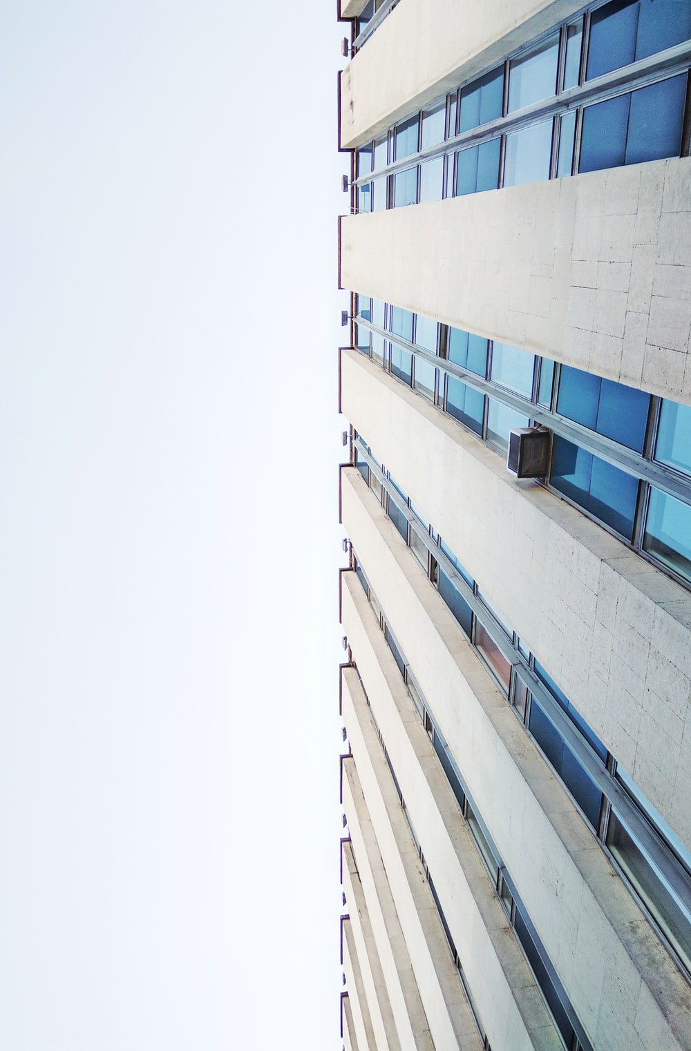 bottom view of gray building