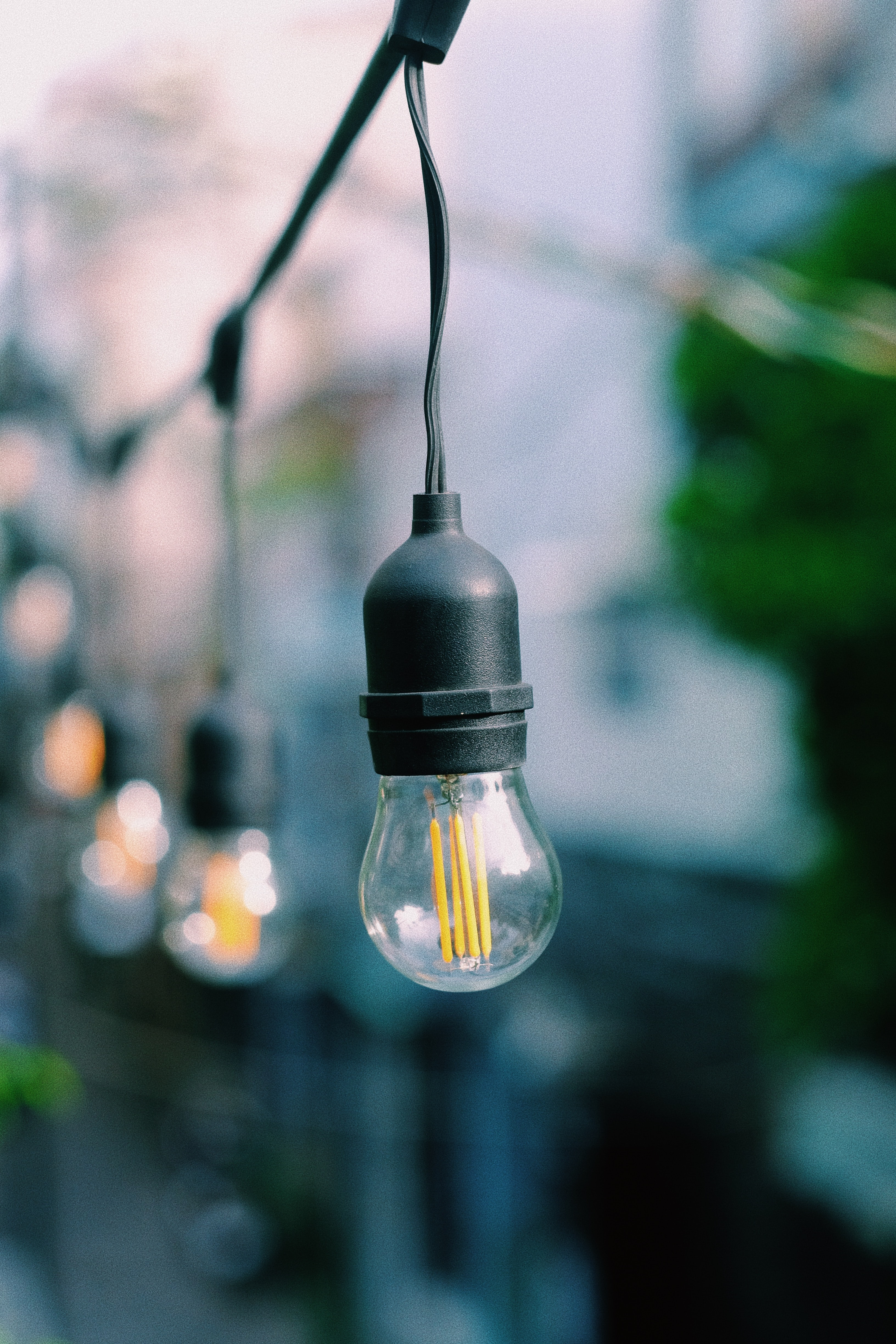 selective focus photography of clear string light