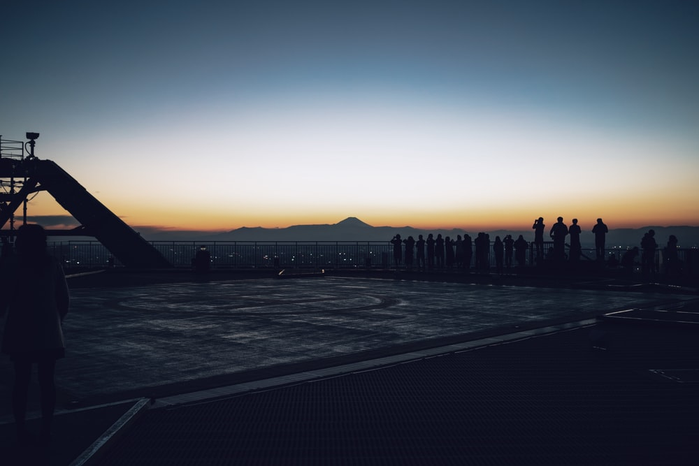 silhouette of people standing