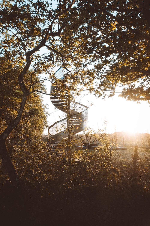gray twirl stair near tree