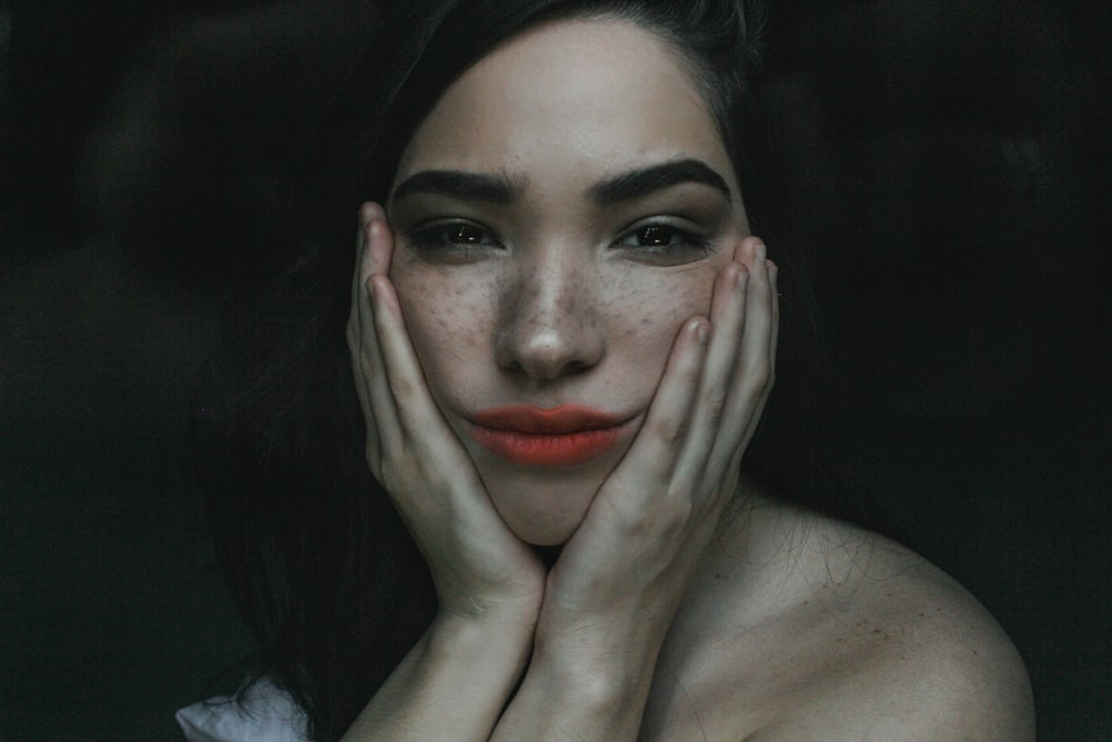 woman with red lipstick photo