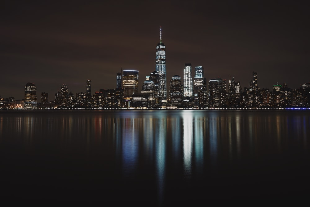 landscape photo of city building during night