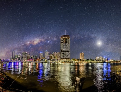 city skyline at nighttime milkyway teams background