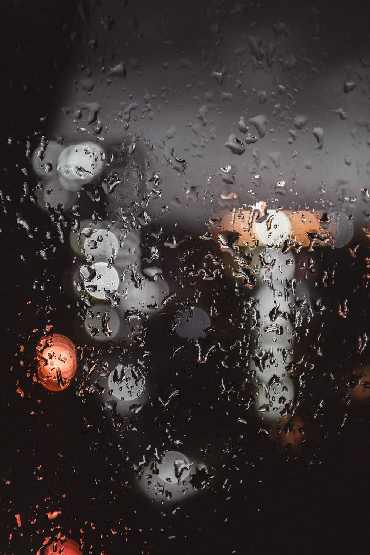 tilt shift view of rain drops