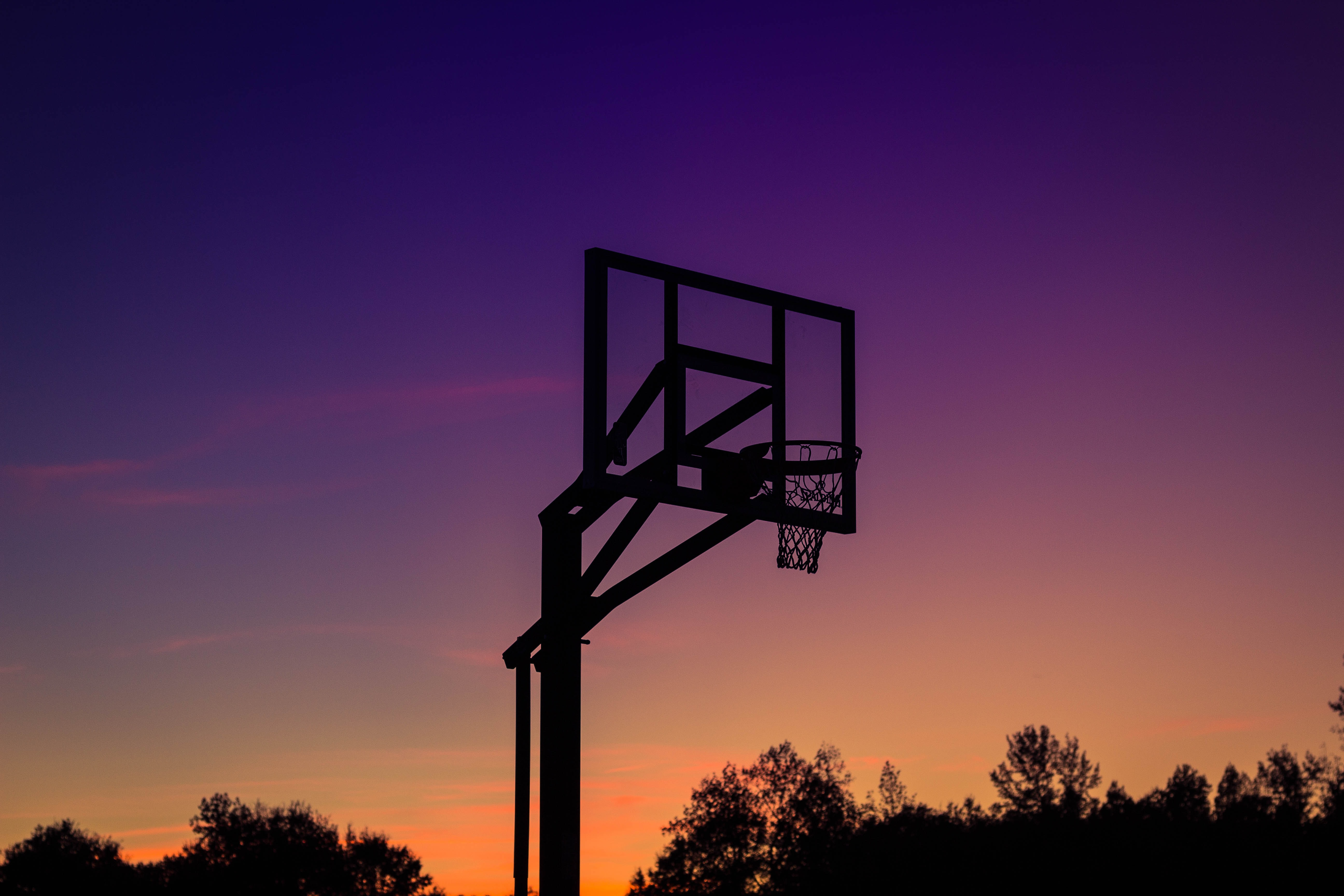 silhouette of basketball system