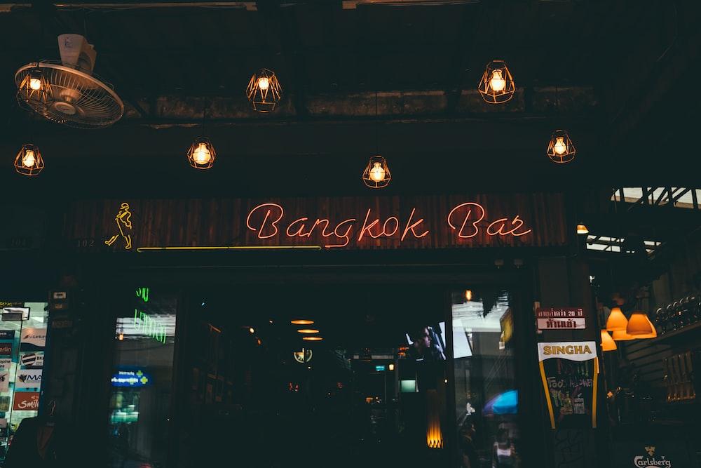 Bangkok Bar neon light signage on front of establishment