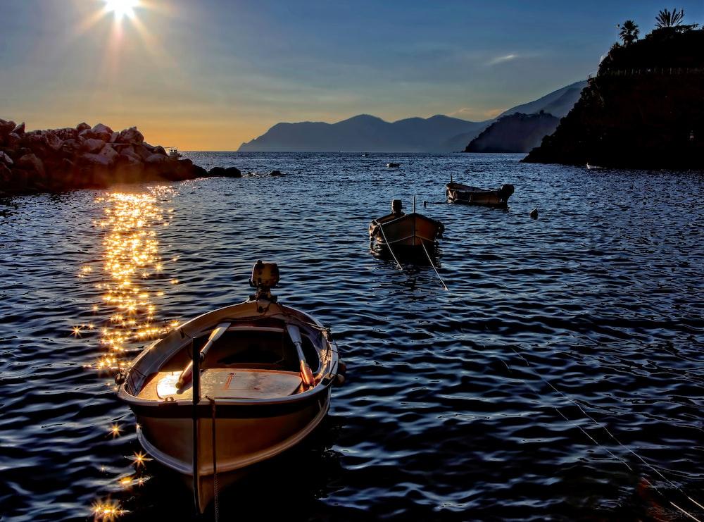 empty floating boat on sea