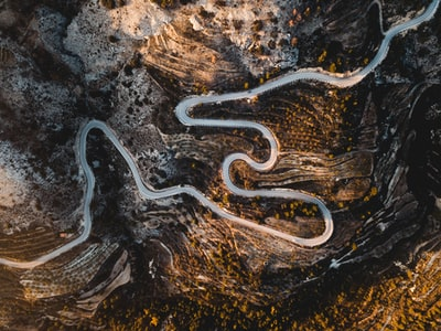 aerial photography of road aerial zoom background
