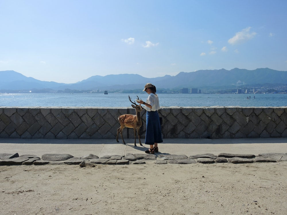 woman in white long sleeve shirt standing beside brown short coated dog on beach during daytime