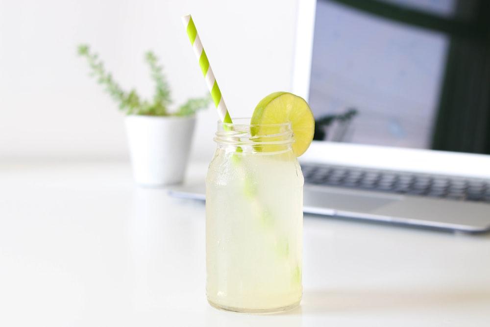 lemon on glass Mason jar