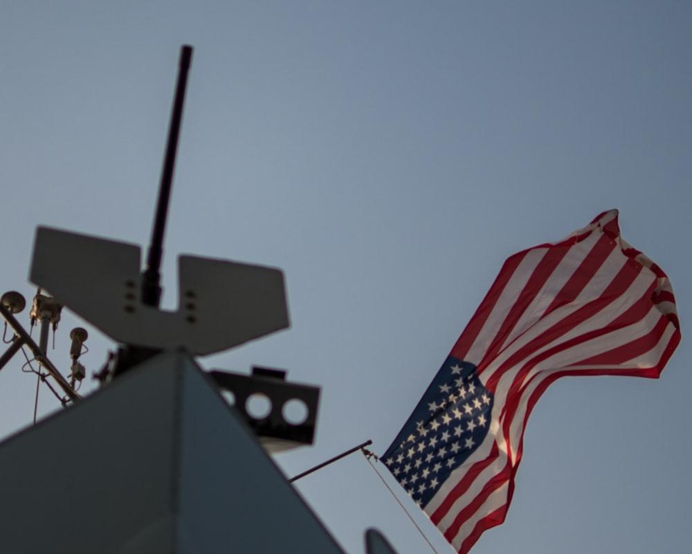 raised USA flag