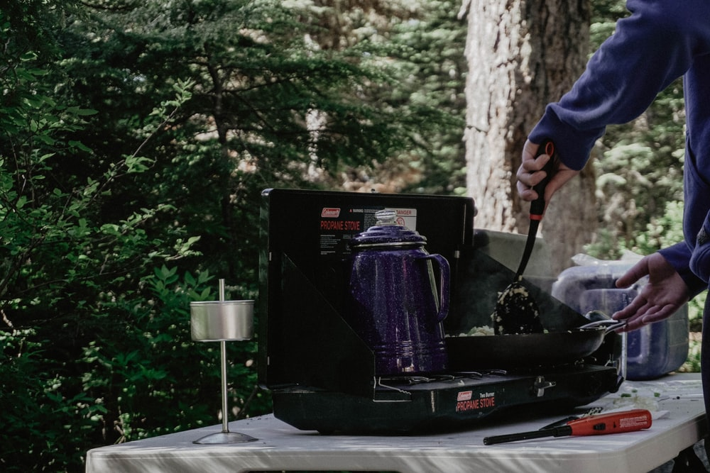 purple electric kettle on stove