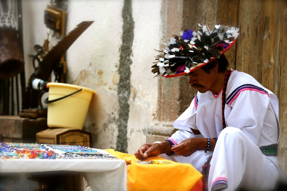 man wearing Mexican costume