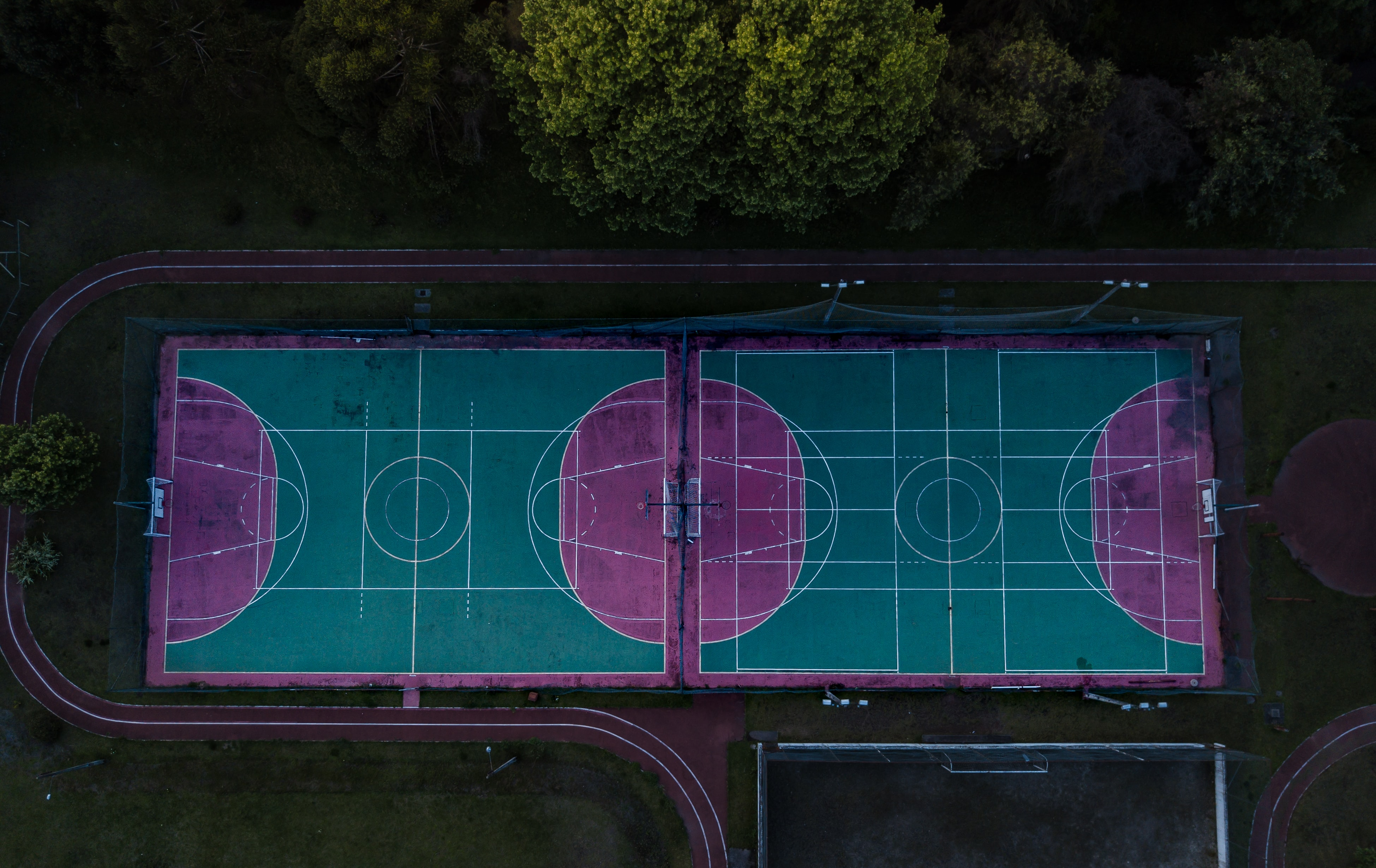 two basketball courts