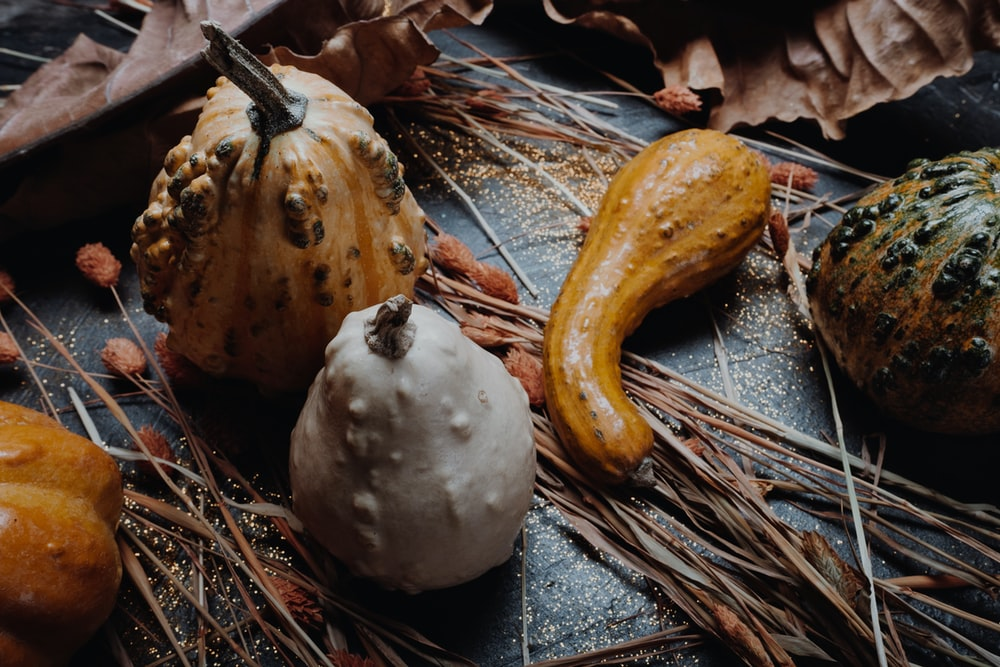 brown and white fruits on gray wooden table