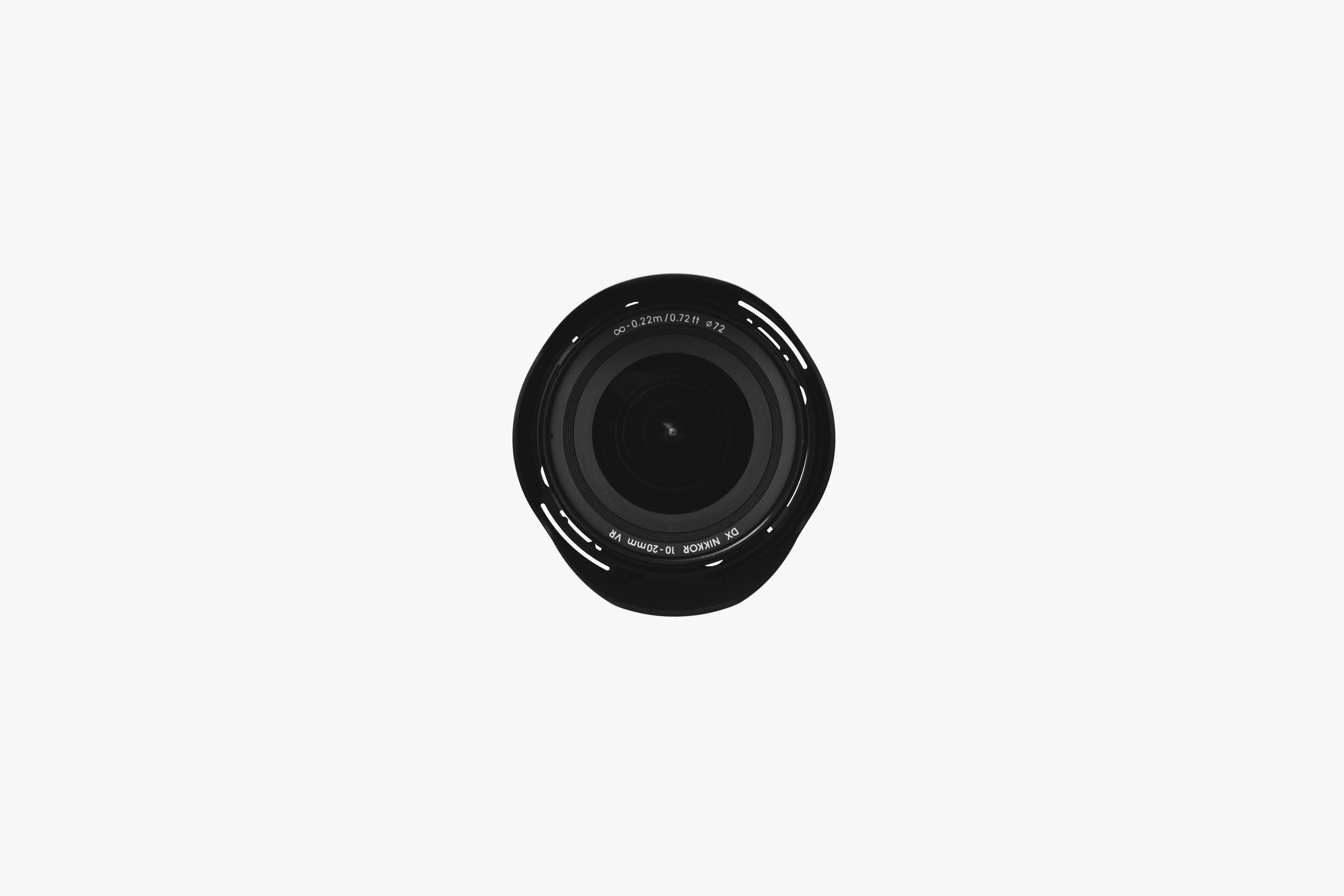 telephoto lens with white background
