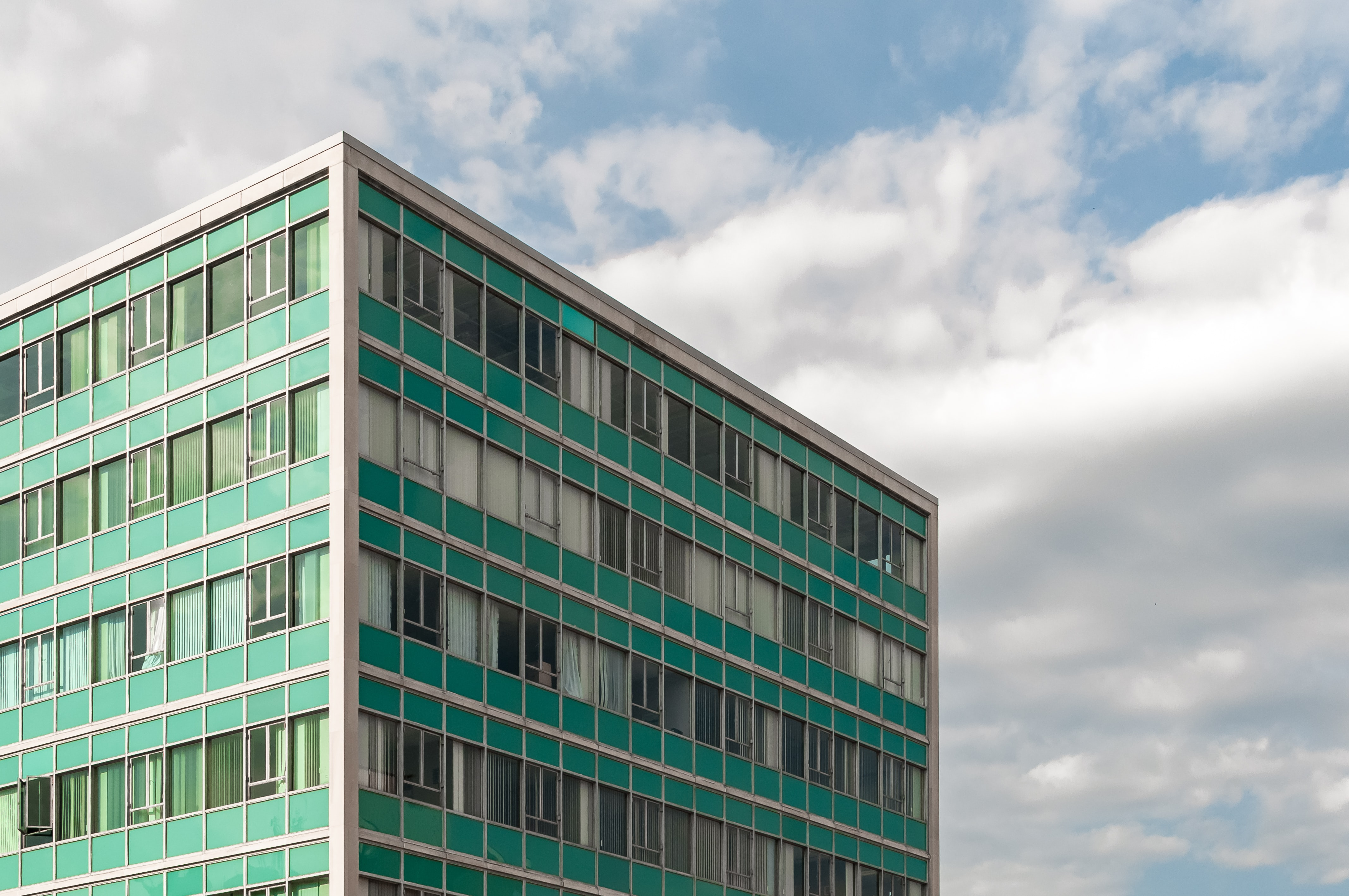 green and white concrete building