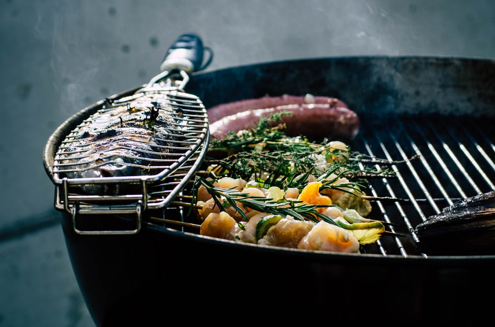 fish on charcoal grill