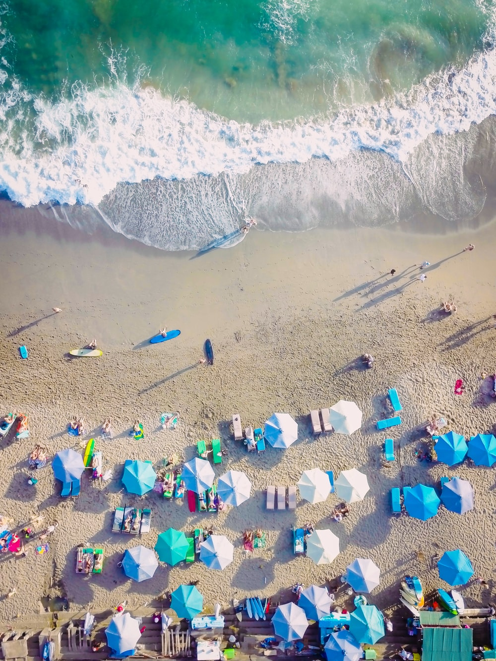 bird's eye view photo group of people lying on sea shore