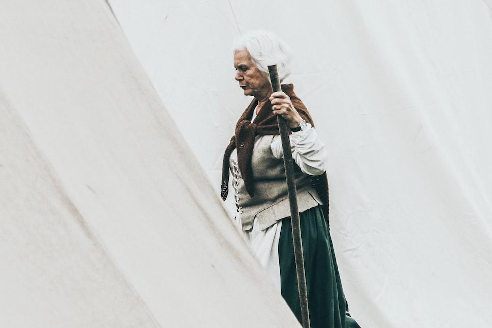 woman holding wand