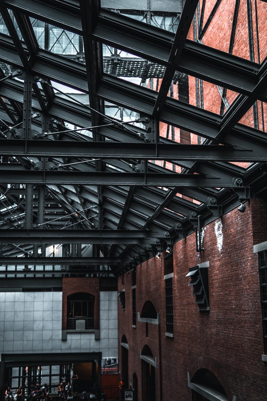 black metal ceiling frame