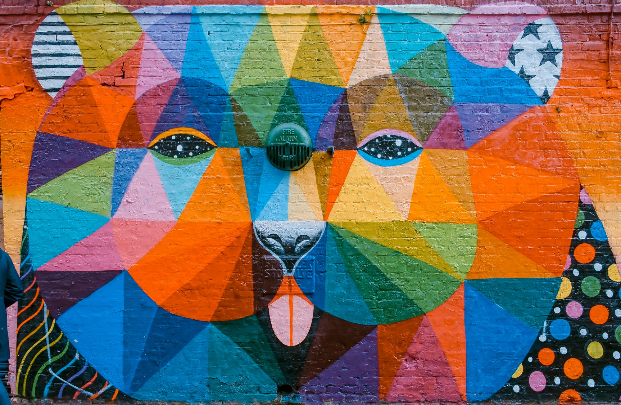 """Cool artwork  """"Oso"""" by Okuda San Miguel, down in Shoreditch, London."""