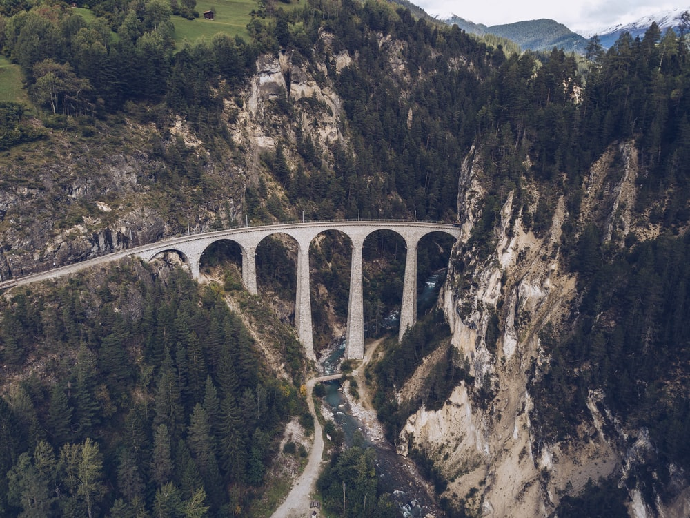 aerial view of bridge between mountains