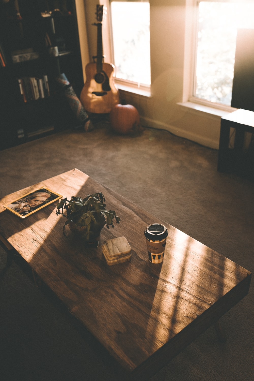cup and potted flower in coffee table