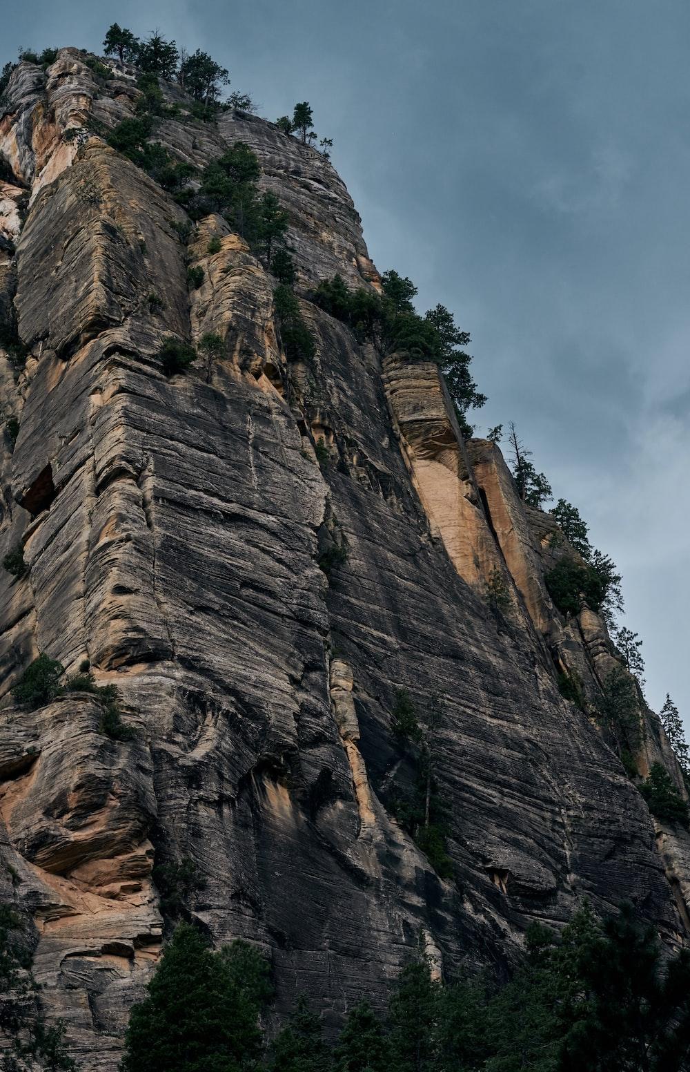 bottom view of mountain