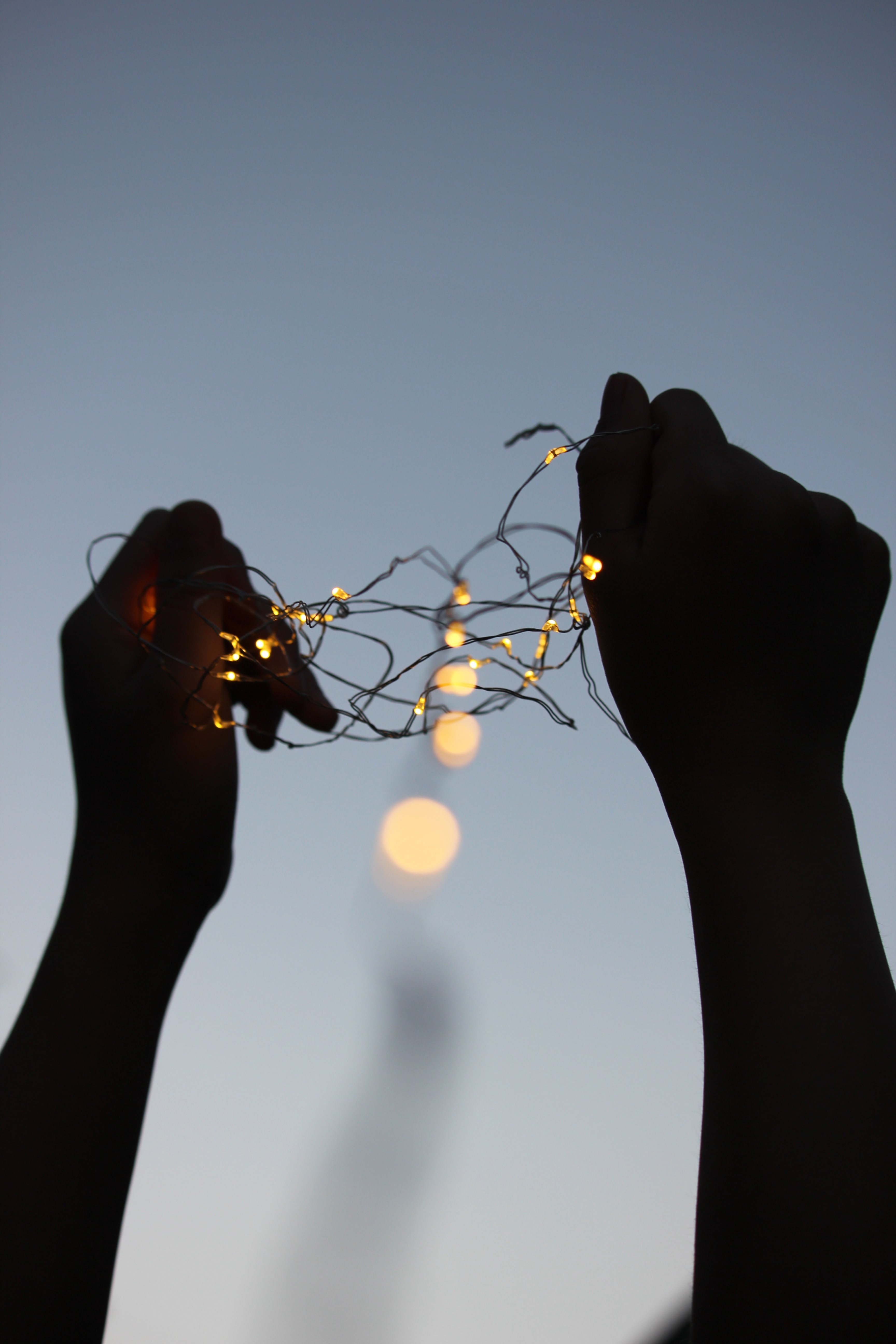 silhouette person holding string lights