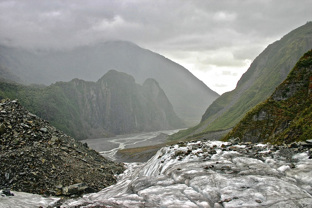 stream near mountains during day