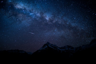silhouette of mountain peak at nighttime star zoom background