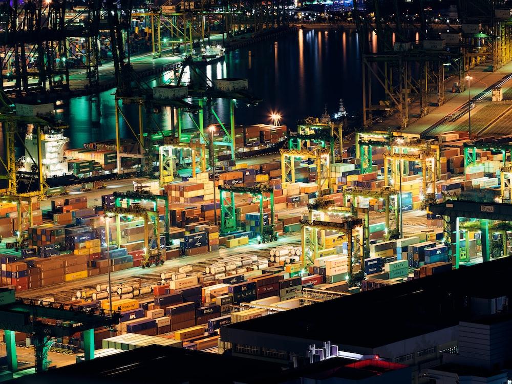 birds eye view of ships