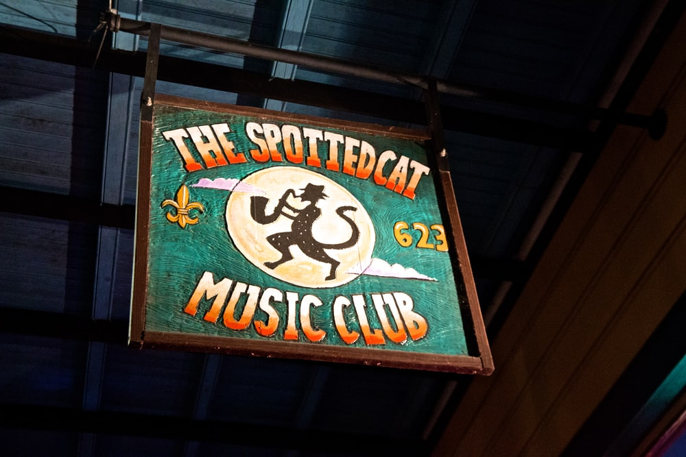 The Spotted Cat Music Club signboard