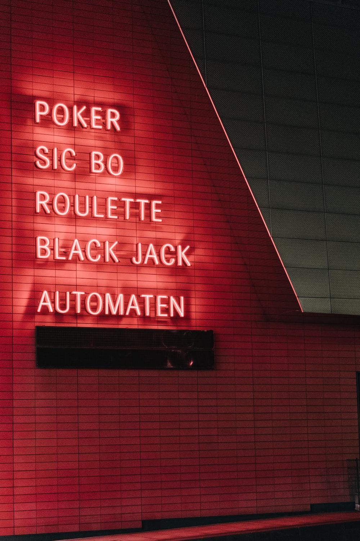 lighted Poker sic bo roulette black jack automaten neon lights