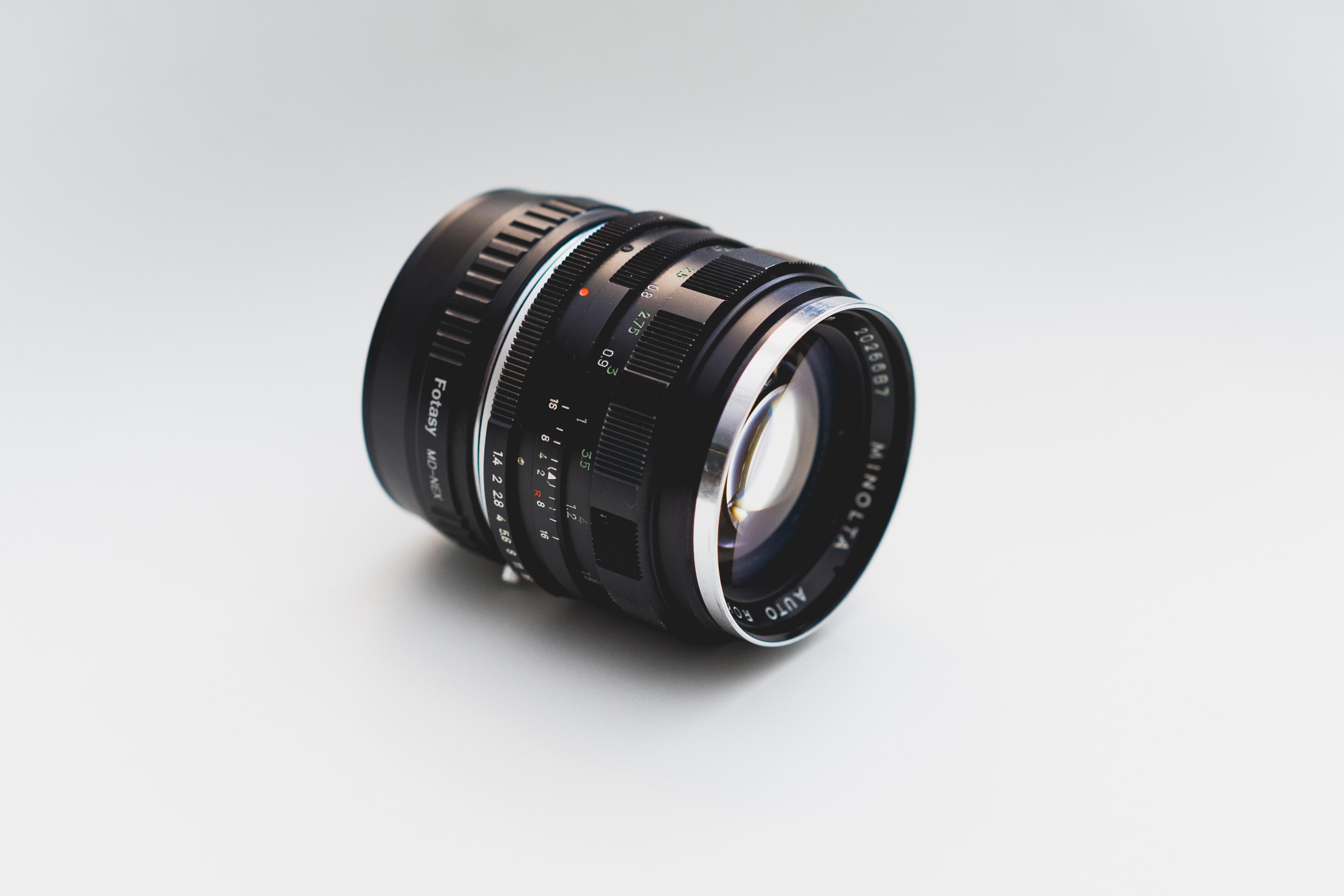 black DSLR lens