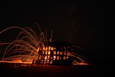 timelapsed photo of lighted house illuminated teams background
