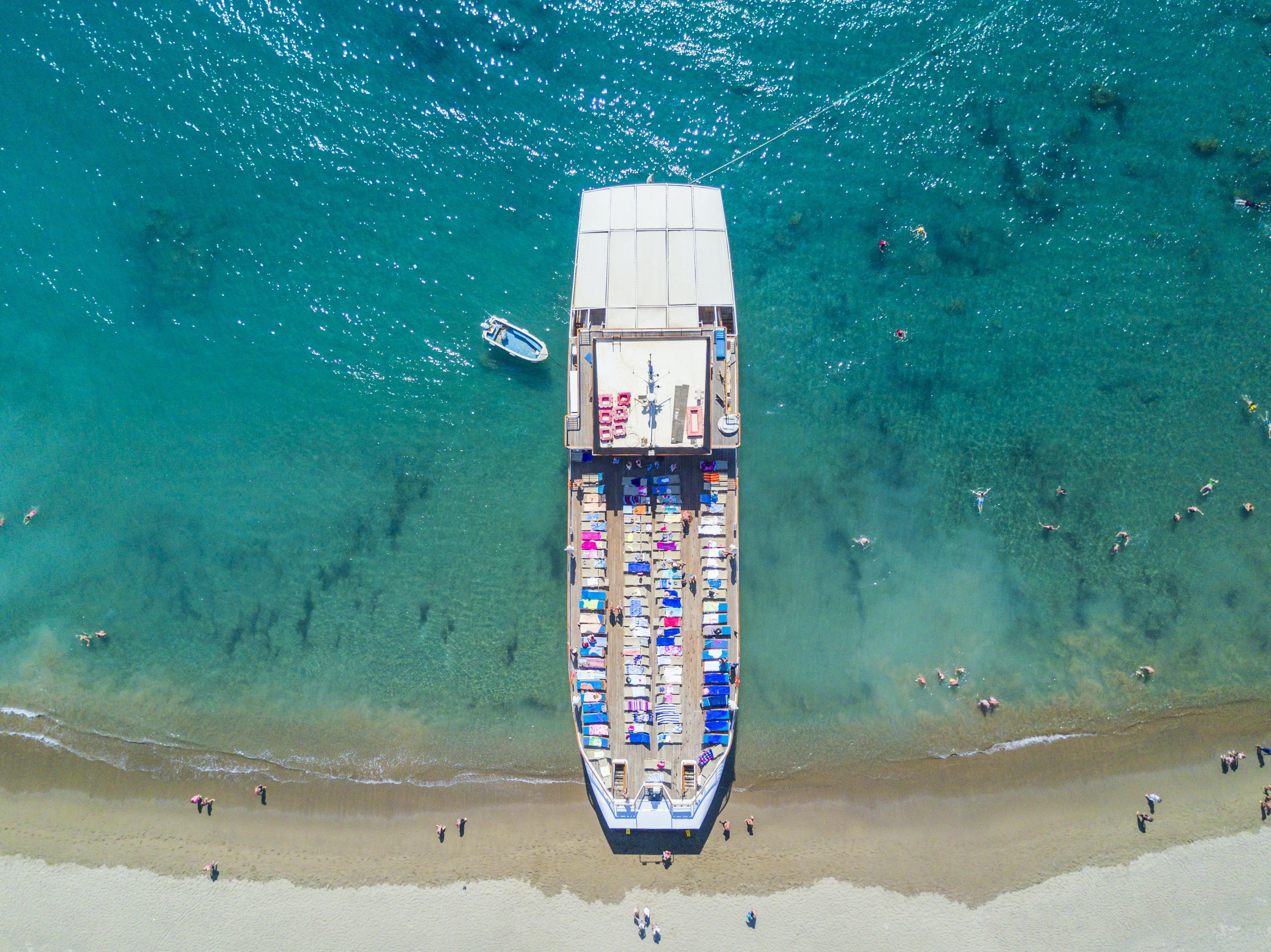 bird's eye view of ship