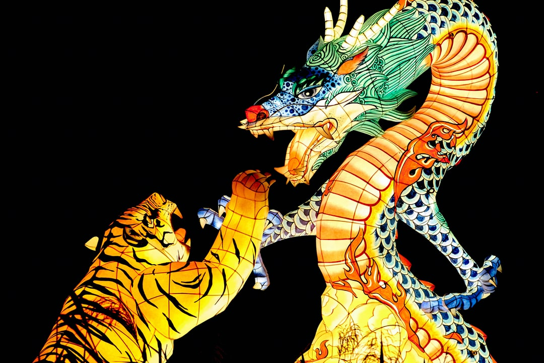 In South Korea these sculptures are part of the light festival.  Dragon vs. Tiger.