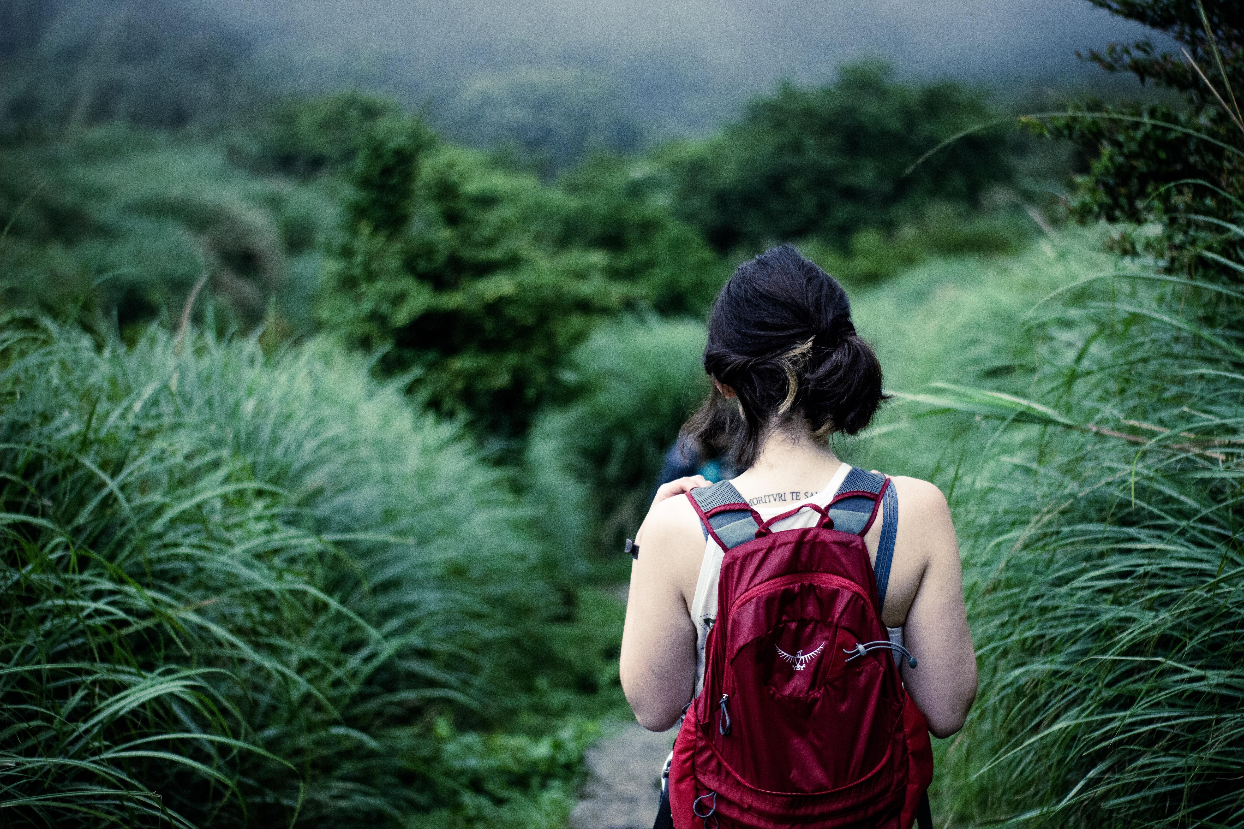 woman walking towards forest