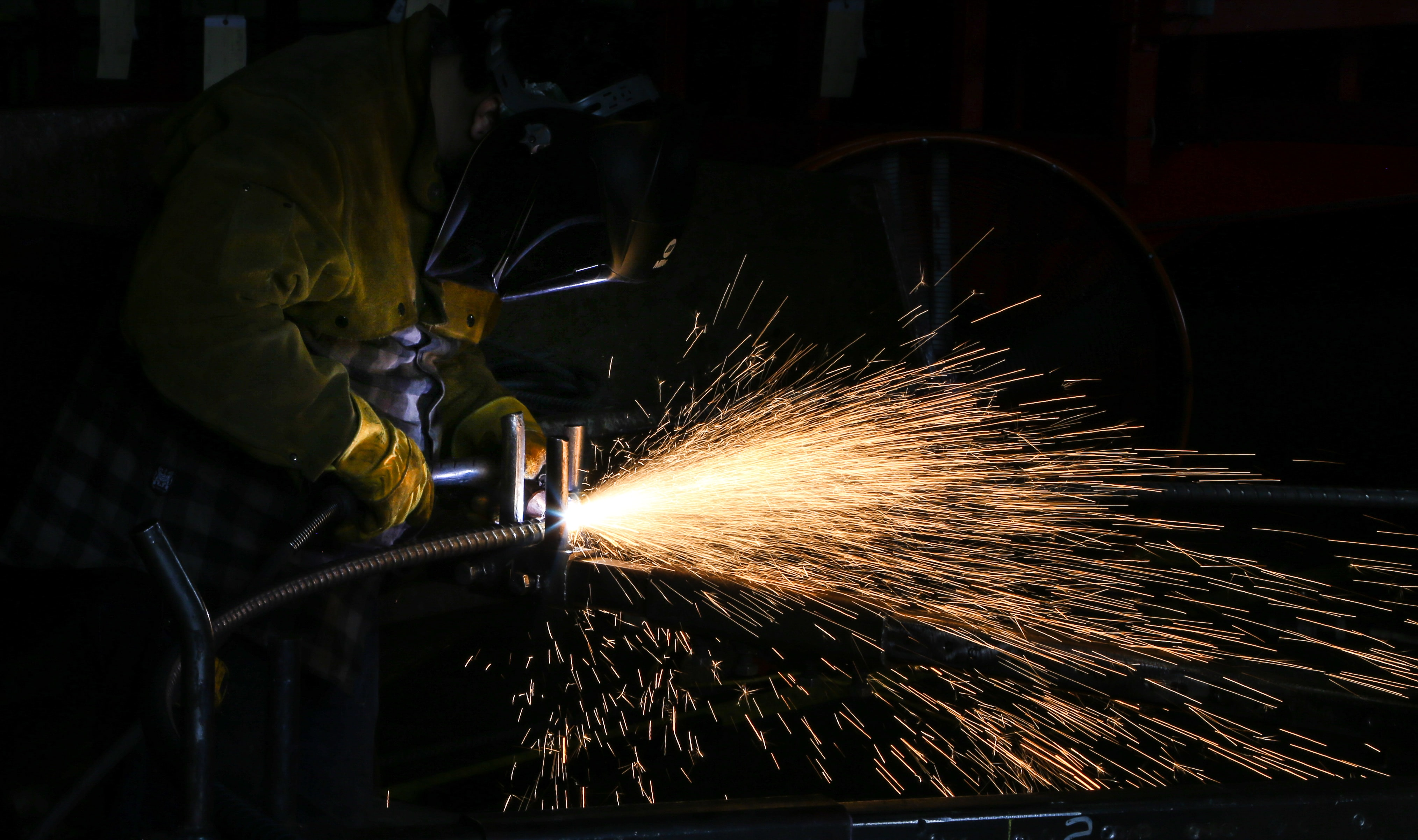 time lapse photography of welding man