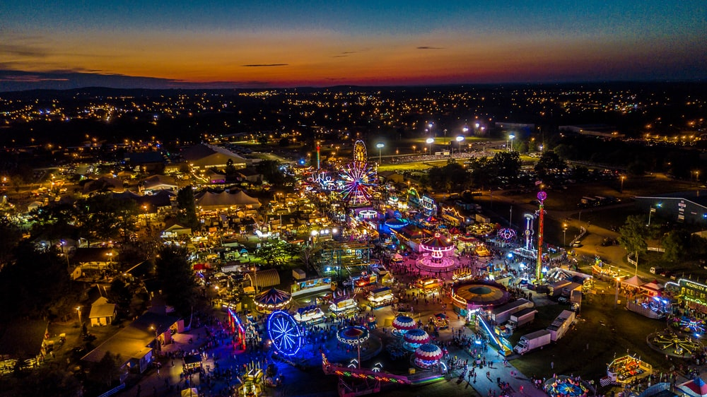 bird's eye view of theme park