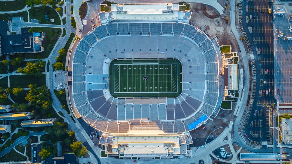 bird's eye photography of football field